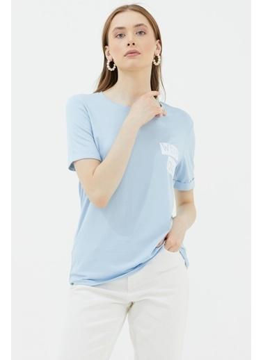 Sementa Yuvarlak Yaka Baskı Detaylı Tshirt - Mavi Mavi